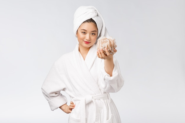 Asian woman being happy with the shower studio concept