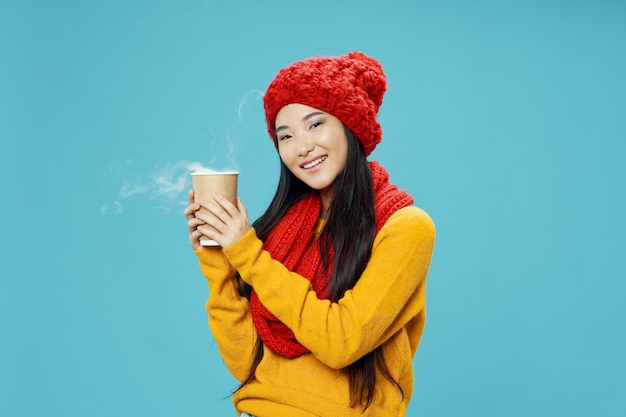 Asian woman on bright color posing model