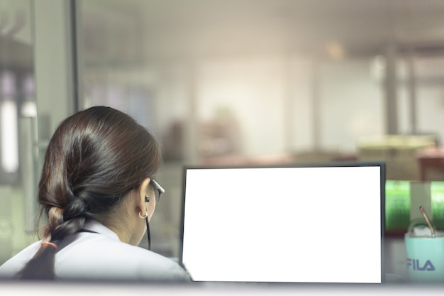 Asian woman career business and working computer or tablet in office on white background.
