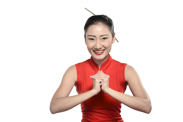 Asian woman in cheongsam dress