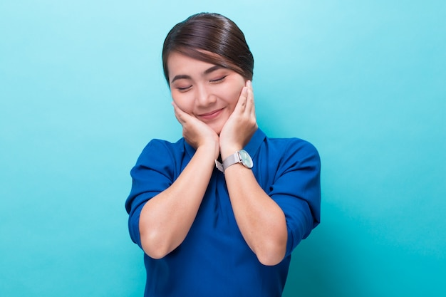 Asian woman feel shy and smiling