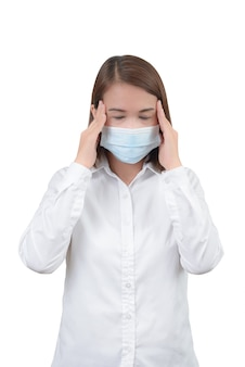 Asian woman feeling headache  with protective masks