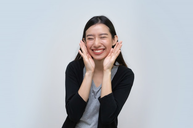 Asian woman feeling thankful and grateful, love and gratitude