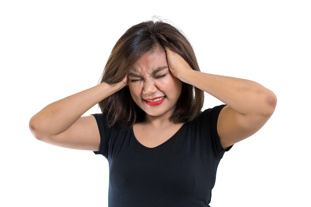 Asian woman getting head ache from serious problem