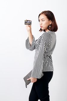 Asian woman holding card