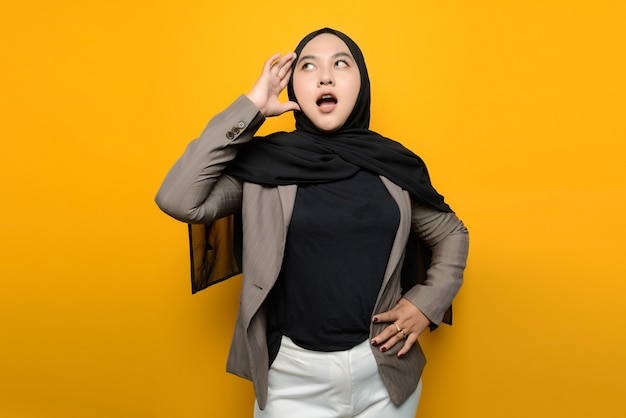 Asian woman is shocked and confused