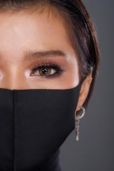 アジアの女性の肖像画リア側背面図360保護フェイスマスクを回す