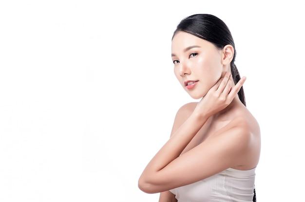 Asian woman posing on white