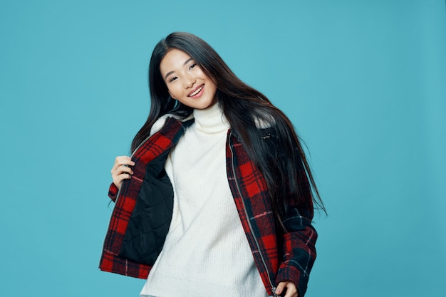 Asian woman posing in winter clothes