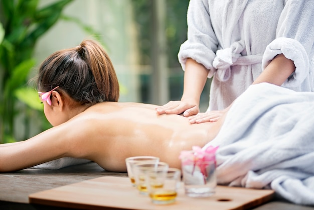 Asian woman relax and receiving massage