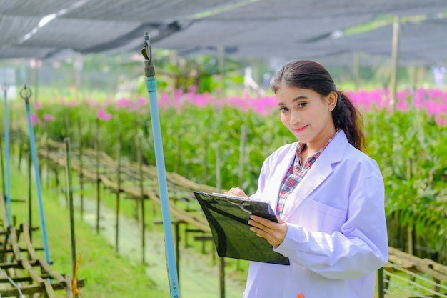 Asian woman, researcher in white dress and explore orchid garden