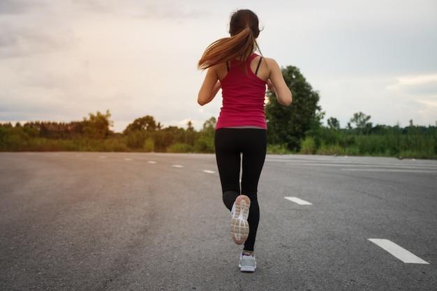 Asian woman run