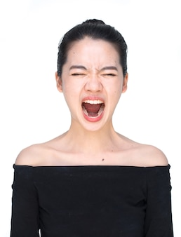 Asian woman screaming loudly isolated on white