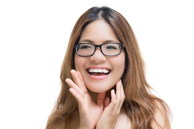 Asian woman shouting with smiling face