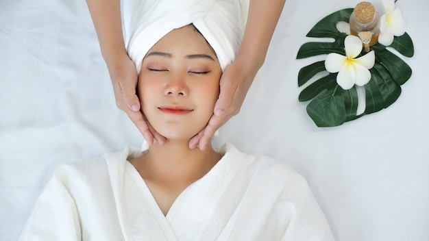Asian woman in spa salon