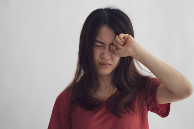 Asian woman suffers from depression leading to physical weakness