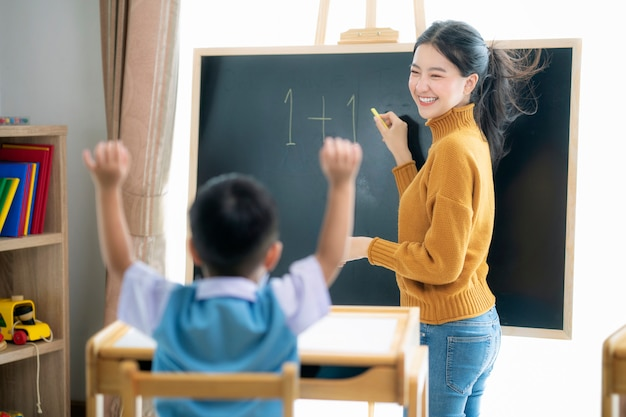Asian woman teacher and her smart student in class room with backboard background