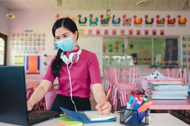 Asian woman teacher wearing medical masks teaching online kindergarten students teachers and students use online video conferencing systems to teach students.