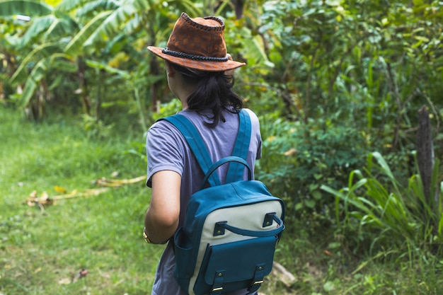 Asian woman traveler with backpack