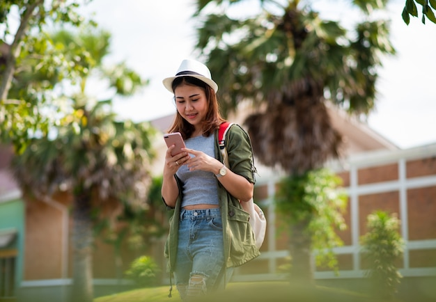 Asian woman using the smart mobile phone
