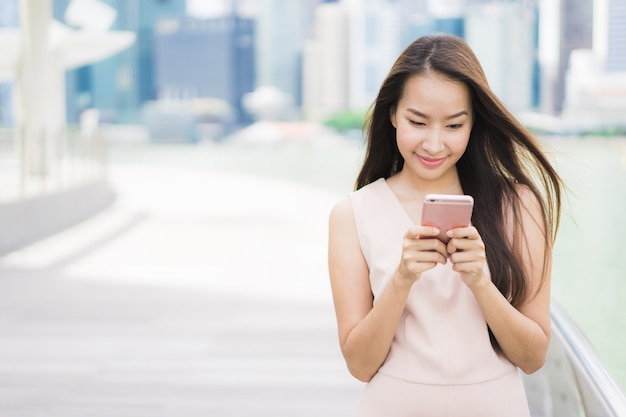 Asian woman using smartphone