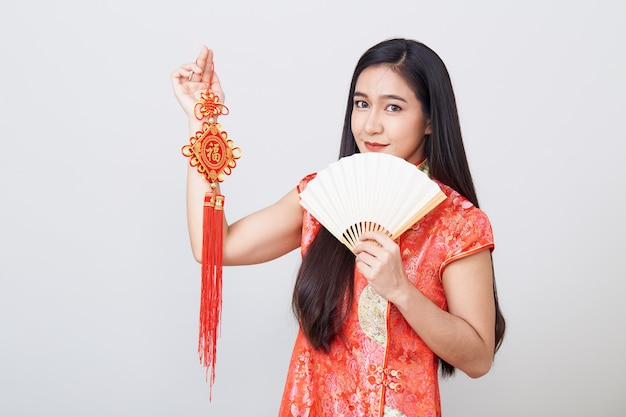 Asian woman wearing cheongsam