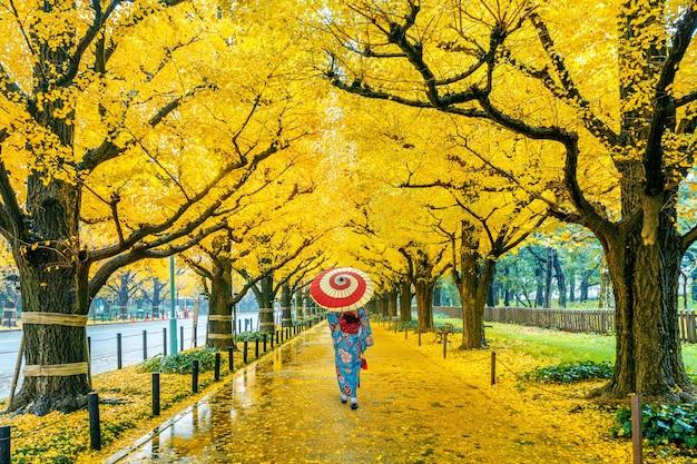 秋の黄色い銀杏の木の列で日本の伝統的な着物を着ているアジアの女性。東京の秋の公園。