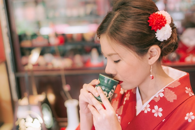 Asian woman wearing kimono in japan