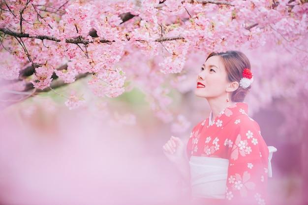 Asian woman wearing kimono with cherry blossoms, sakura in japan.