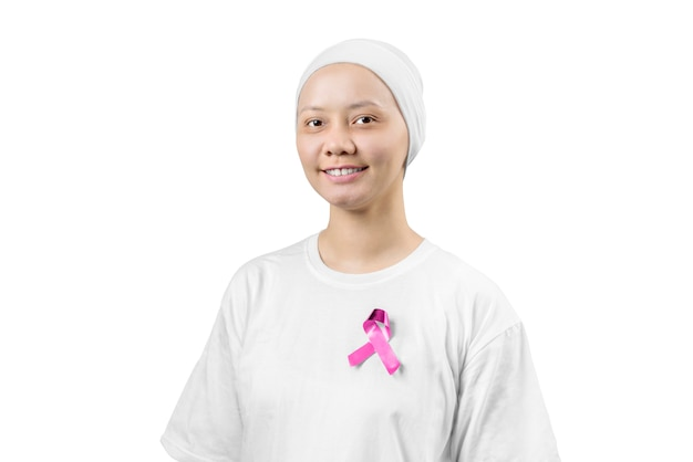 Asian woman in a white shirt with pink ribbon