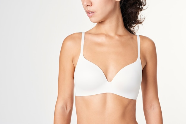 Asian woman in a white wireless bra