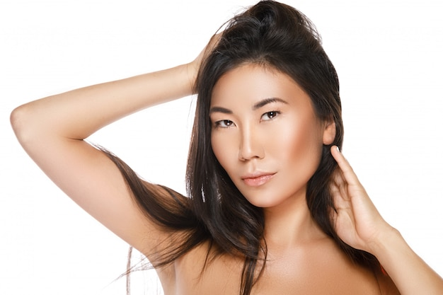 Asian woman with a healthy black hair