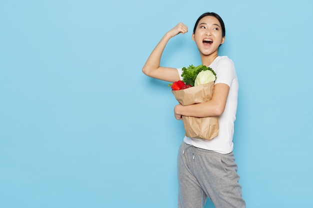 Asian woman with healthy food