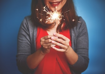 Asian Woman with sparkler