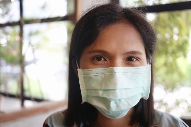 Asian women are wearing masks to protect them from the covid-19 or coronavirus