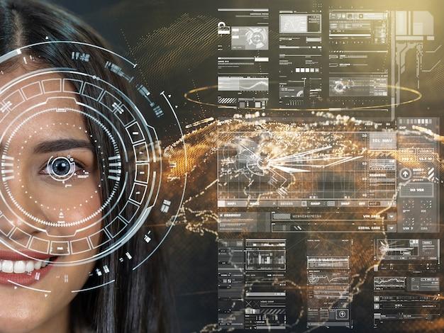 아시아 여성들은 지구의 입자, 디지털 기술 화면에 대한 미래의 비전을 가지고 있습니다.