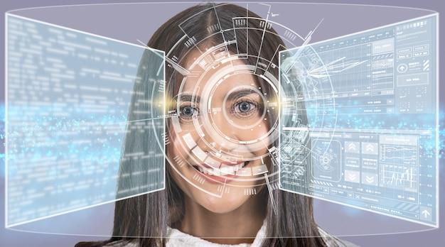 그래픽 입자, 디지털 기술 화면에 대한 미래 지향적인 비전을 가진 아시아 여성