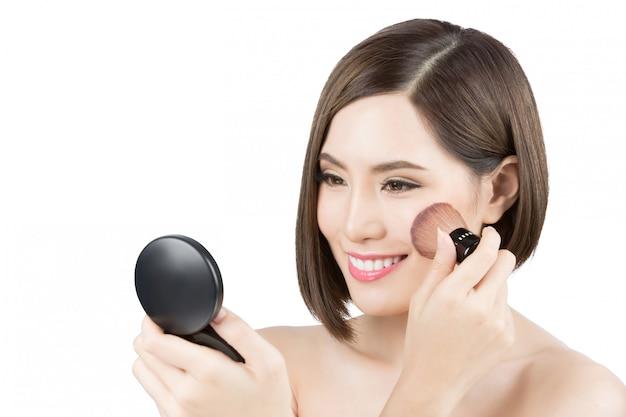 Asian women now cheek makeup