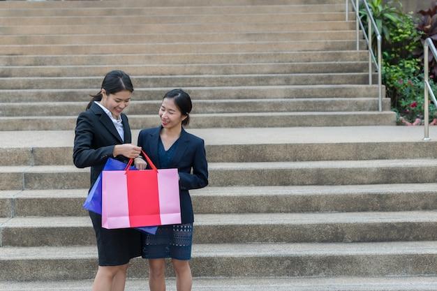Asian women shopping