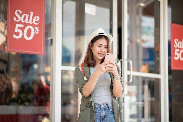 Asian women travel shopping