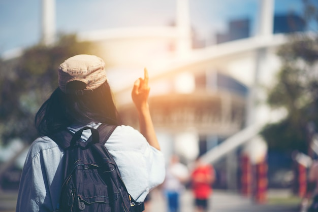 Asian women travel in singapore