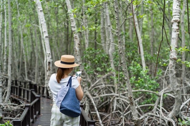 Asian women traveling nature forest and using smartphone. walking path in the tropical jungle.