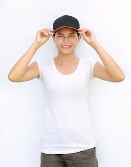 Asian women wear casual sport t-shirt and cap