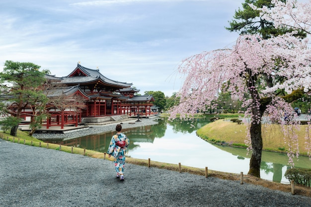 Asian women wearing traditional japanese kimono in byodo-in temple in uji, kyoto, japan