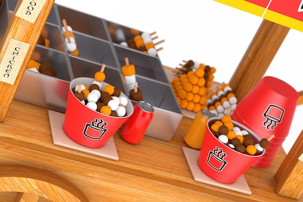 Asian wooden street food meatball noodle cart extreme closeup. 3d rendering
