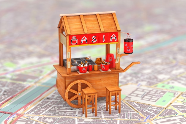 Asian wooden street food meatball noodle cart with chairs over abstract map extreme closeup. 3d rendering