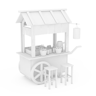 Asian wooden street food meatball noodle cart with chairs in clay style on a white background. 3d rendering