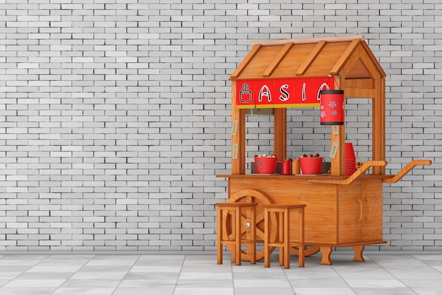 Asian wooden street food meatball noodle cart with chairs in front of brick wall background. 3d rendering