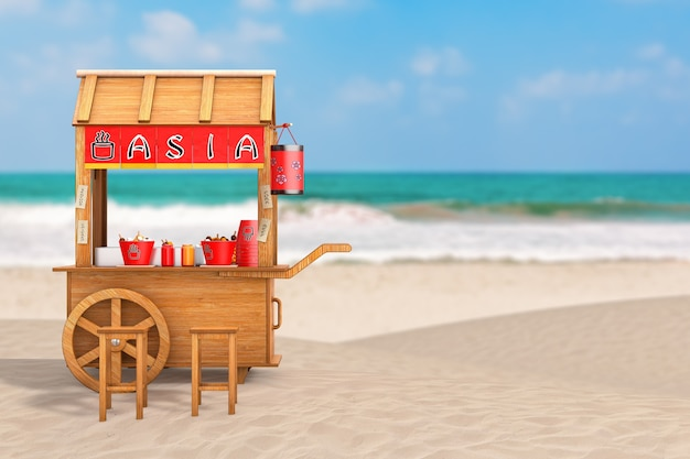 Asian wooden street food meatball noodle cart with chairs on ocean or sea tropical sand beach. 3d rendering