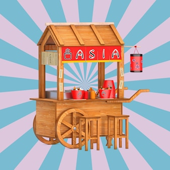 Asian wooden street food meatball noodle cart with chairs on a vintage star shape pink and blue background. 3d rendering